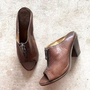 Frye Open-Toe Zipped Slip-on Chunky Heeled Sandals